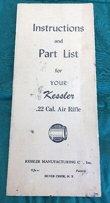 Vintage Kessler Air Rifle Instructions And Parts List Booklet Rare