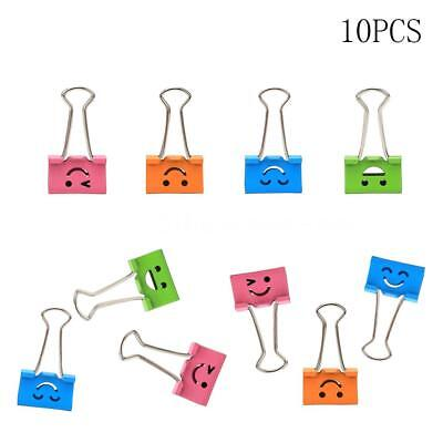 10PCS Assorted Smiling Face Binder Office Metal School File Clips Organizer X8F8
