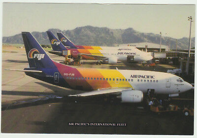 AIRLINE POSTCARD AIR PACIFIC B-737s AT RAMP IN FIJI