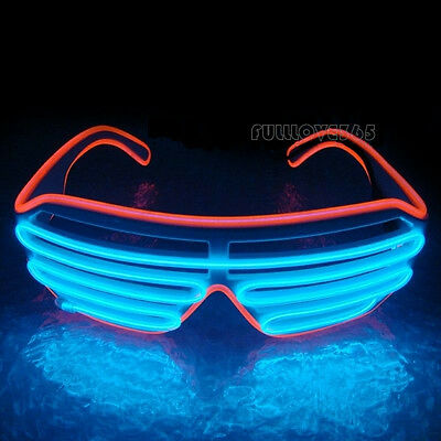 El Wire LED Brille Shutter Shaped Glasses Partybrille Leuchtbrille Party DisFY