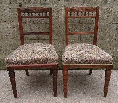 Pair of Antique Victorian Rosewood Sprung Upholstered Carved Turned Chairs