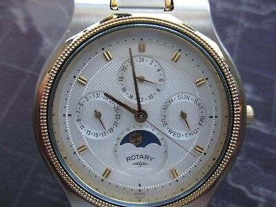 mens stunning rotary watch, multi dial, sun -moon, japan movt, very nice