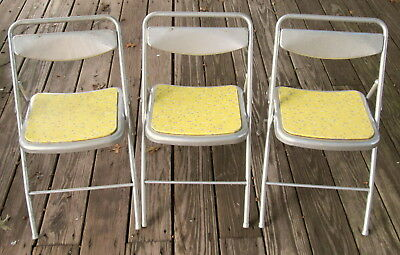 Lot of 3 Vintage Child's Folding Metal Chairs