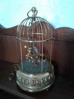 Antique Karl Griesbaum German Singing Bird in Brass Cage. Tail & Beak Move.