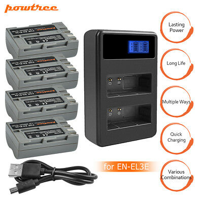 Powtree EN-EL3E Battery and Charger for Nikon D50 D70 D80 D100 D200 Camera MP