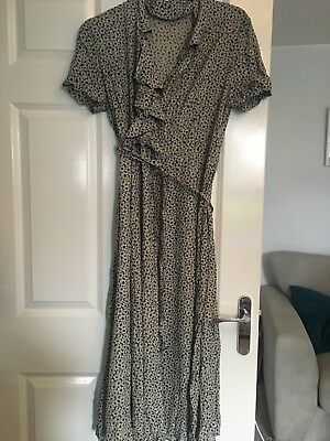 Retro Daisy Floral Size 12 70s 60s Maxi Dress Black Vintage Boho Hippy