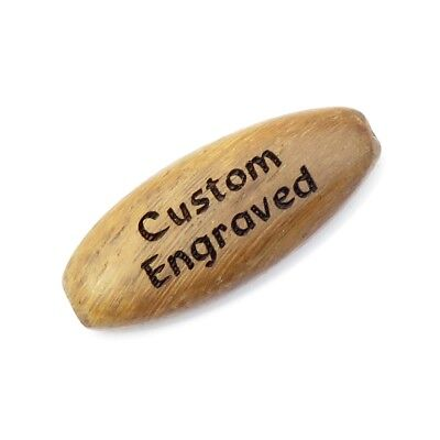 35x15 mm - Walnut Brown Wood Flat Oval Beads - Custom Engraved or Personalized