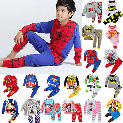 Kids Toddler Baby Boy Girls Superhero Pajamas Set Sleepwear Clothes Outfits 1-8Y