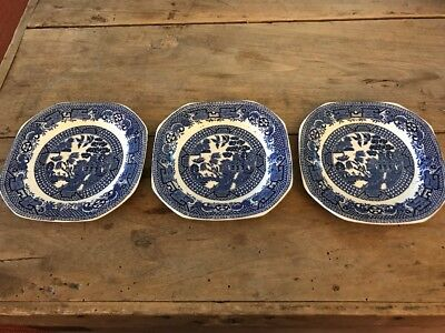3 Pretty Vintage Blue & White Old Willow High Tea Side Plates