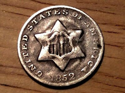 1852 inverted 2  trime 3 cent silver VERY RARE! Fine ++ 1 over 2