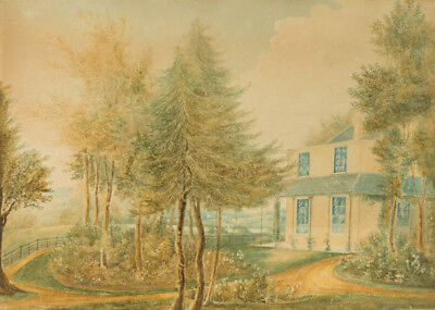 Early 20th Century Watercolour - House and Rose Garden