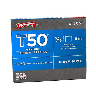Arrow Fastener 509 Genuine T50, 5/16 - Inch Staples