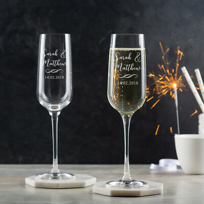 Personalised Champagne Flutes Glasses Engraved Wedding Gift for Bride and Groom