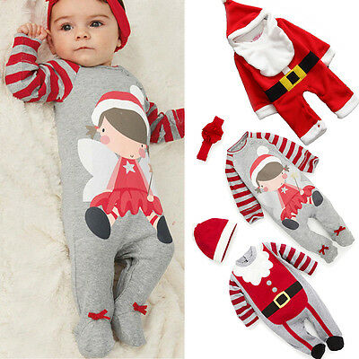 Xmas Infant Kid Baby Boy Girl Santa Costume Romper Bodysuit Outfit Christmas Set