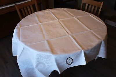 Vintage White Tablecloth W Tag Irish? 56X71 Warrented All Pure Linen Never Used