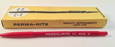 12 Vtg Perma-Rite Med Ball Point 49 Auditors-Accountant Cap & Clip Pens - Red