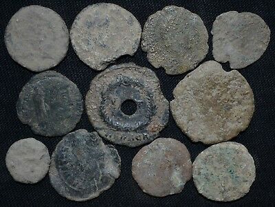 Group of 11 Ancient Roman Imperial Bronze coins, 250-350 Ad Metal Detector Finds