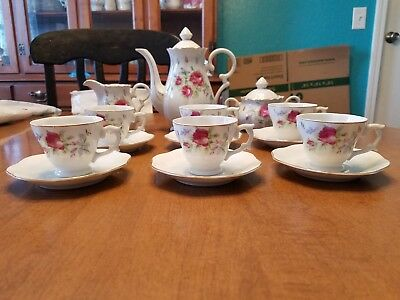 Vintage 1950's Gold Trim Rose Miniature Tea Set. Antique. Porcelain