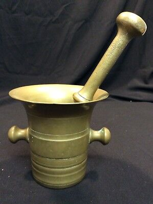 Antique Apothecary Solid Brass Mortar and Pestle