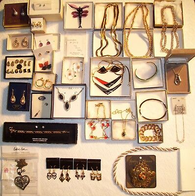 Vintage & Modern Estate Jewelry Lot~Earrings~Necklaces~Bracelet~Brooch~Excellent