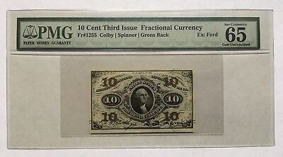 10 Cents Fractional Currency Third Issue Pmg Gem Uncirculated 65 Epq Fr-1255