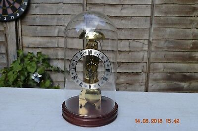 Vintage Hermle Skeleton Clock Under Glass Dome in Perfect Working Order.