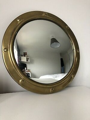Large Vintage Brass Porthole Convex Mirror Wooden Back Original Chain.