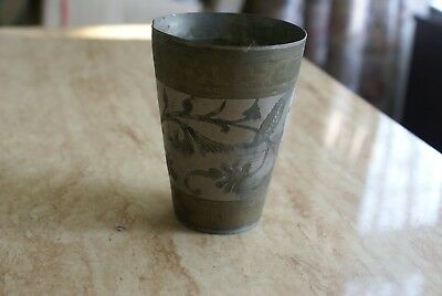 Antique/Vintage Islamic/Indian Two Tone Silver Metal Engraved Beaker-Lassi Cup