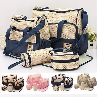 5PCS Baby Changing Diaper Nappy Bag Tote Mummy Mother Multifunctional Handbag