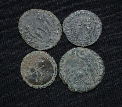 Group of 4 Ancient Roman Imperial Bronze coins, 250-350 Ad. Metal Detector Finds