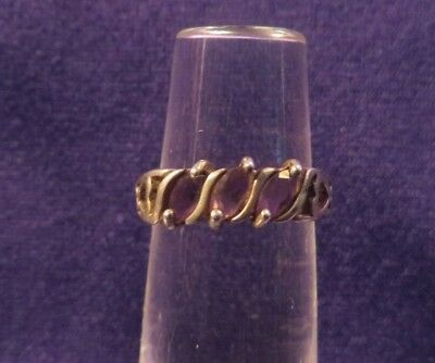 Vintage Marked 925 Ring Or Band w/ Hearts & 3 Amethyst Stones Size 6