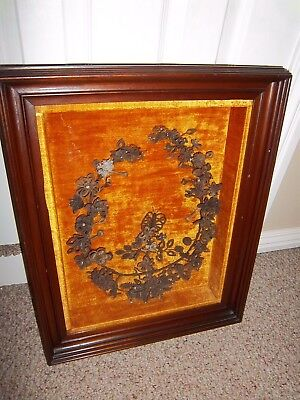 Victorian Human Hair & Glass Beads Butterfly Wreath Shadow Box
