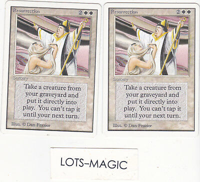 LOT de 2 cartes MAGIC MTG Resurrection UNLIMITED ENGLISH 1993 EX-NM