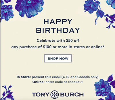 $50 Off TORY BURCH Purchase Online/In Store Promo Coupon Expires 8/31/18