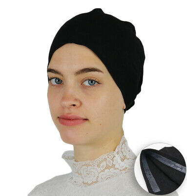 Muslim Women's Islamic Turkish Cap Modefa Non-Slip Cotton Bonnet - Black