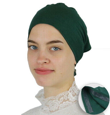 Muslim Women's Islamic Turkish Cap Modefa Non-Slip Cotton Bonnet - Green