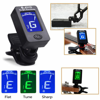 Electric Black Guitar Tuner Lcd Clip-On Chromatic Acoustic Bass Ukulele Violin