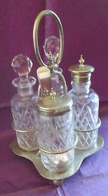 Vintage Cut Glass & Silver Plated Condiment Set Stamped ESP Mismatched stopper