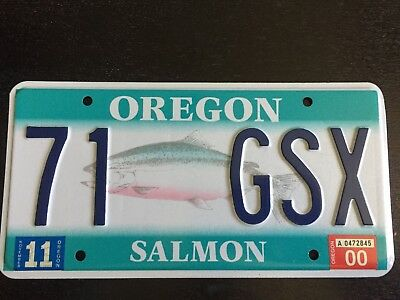 Oregon Specialty License Plate - SALMON - VANITY - 71 GSX - November 2000 tag