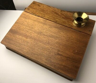 Beautiful Antique Wooden Folding Lap Slope Writing Desk with brass Inkwell