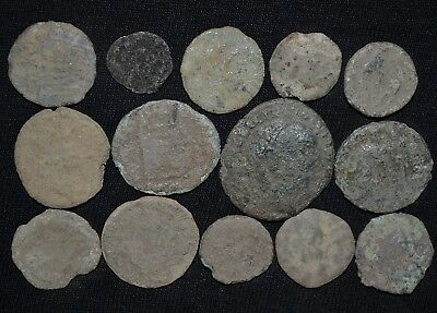 Group of 14 Ancient Roman Imperial Bronze coins, 250-350 AD Metal Detector Finds