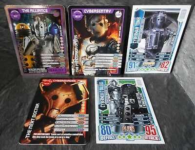 Dr Who 5 x Cyberman Cards, Cyberman Tomb TM8, Cybersentry 105, The Alliance 102