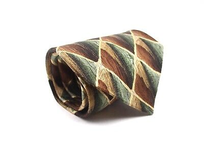 Cocktail Collection Silk Tie Brown And Green Geometric Necktie 55 x 3.75 New