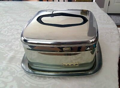 Vintage LINCOLN Beautyware Cake Carrier Chrome Metal Locking Lid Mid Century Mod