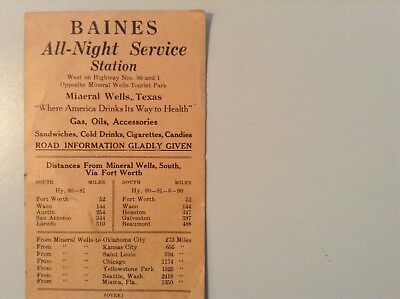 Vintage Service Station Mileage Card.    BAINES ALL NIGHT SERVICE STATION