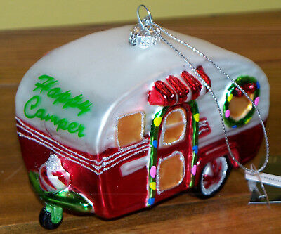 Ornament Glass New Going RV Vacation Camp Travel AAA Happy Camper Hotel Motel