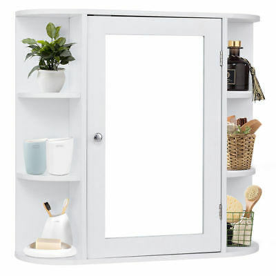 Wood Bathroom Storage Medicine Cabinet Mirror White Bath Shelves Wall  Elegant