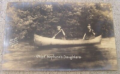 Passamaquoddy Indians 19Th Century Real Photo Postcard 2 Woman In Canoe Maine