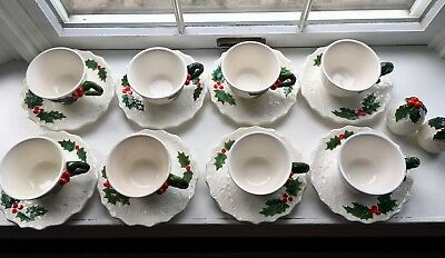 Vintage Christmas Tea Cups And Salt, Pepper  Shakers