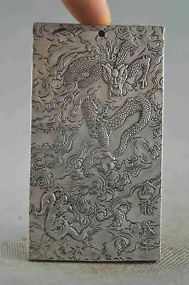 Collectable Handwork Decor Miao Silver Carve Roar Dragon Exorcism Lucky Pendant